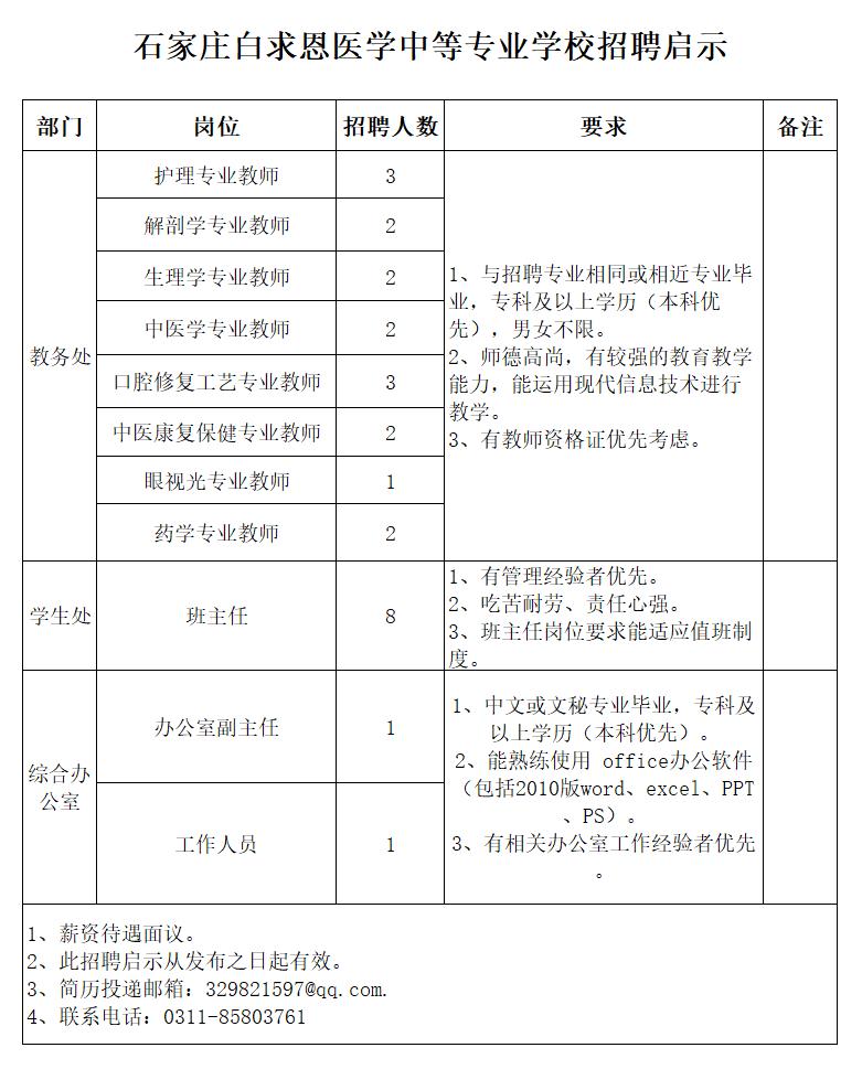 石家庄白求恩医学中等专业学校2018年招聘启事